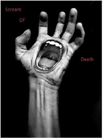 Portrait of scream of death